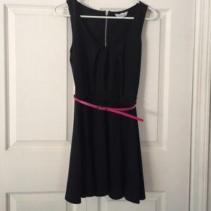 Speechless Little Black Dress Hot Pink Belt XS